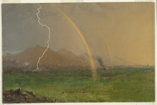 Oblique view of a valley. A church (probably Austrian or Bavarian) building with an onion steeple is shown in the right middle distance. Mountains are in the rear. A fire burns between two rainbows. Lightning strikes in the left middle distance.