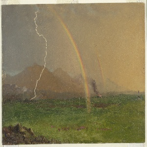 Drawing, Alpine Scene in Thunderstorm