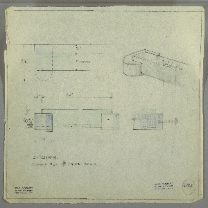 Design for chest handle in crystal with chromium mounts. At upper right, partial perspective shows rectangular handle set into oblong shape with square rear edge; design inscribed with illegible script. At upper left, plan provides dimensions and shows relative depths of components, while at center left, elevation provides further dimensions. At center right, side elevation describes how handle would be mounted to chest surface.  Margins ruled in graphite. Inscribed with Deskey No. 6124.