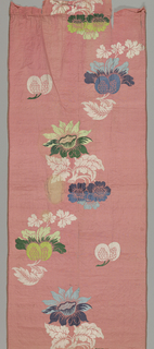 Polychrome flowers and fruit facing in alternate directions on a pink background.