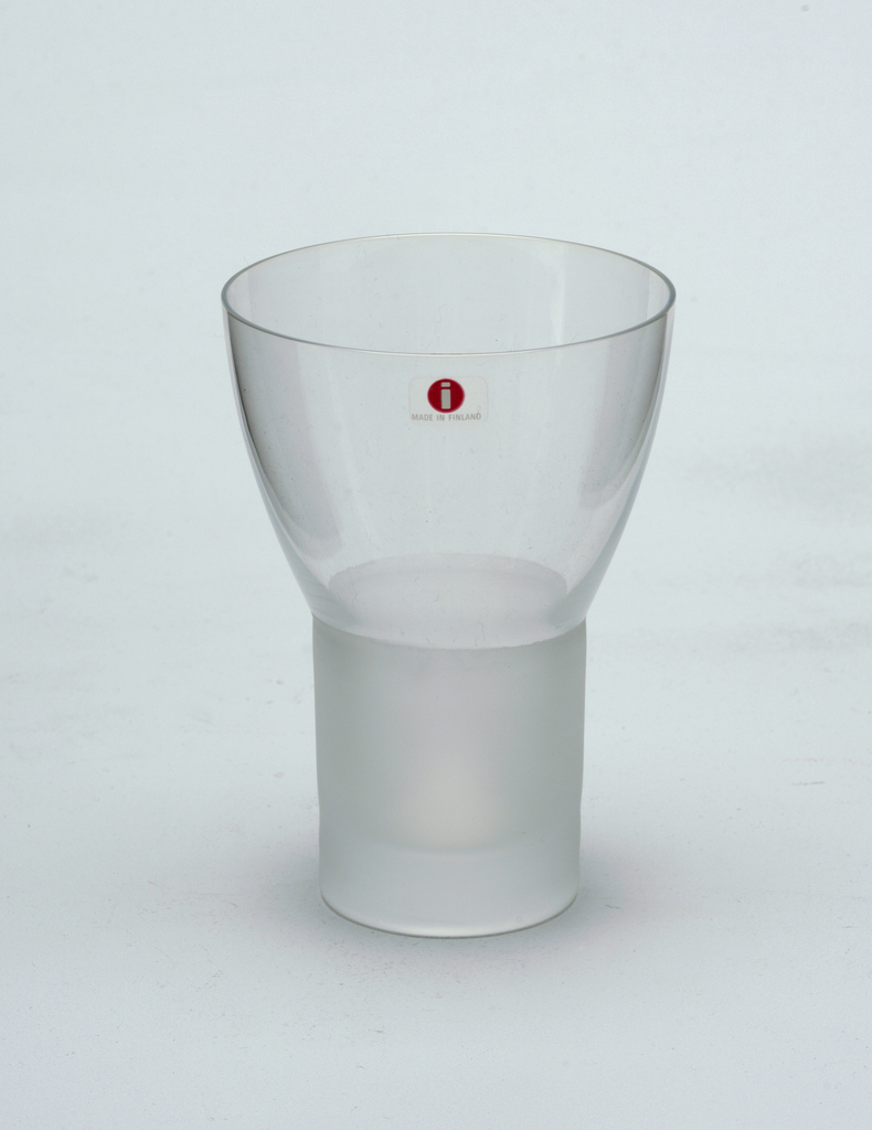 Clear glass goblet with frosted glass stem.  Red wine.