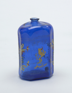 Blue glass bottle with painted decoration, dragon central figure