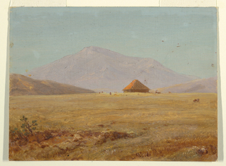 Horizontal rectangle. A valley leading toward a high mountain in the background. A hut is shown in the central middle distance. Grazing cattle, and in the right foreground, a donkey.