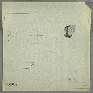 Design for wheel-shaped drawer knob. At upper right, object shown in perspective. Squat cylinder oriented vertically set between two truncated oblongs. At upper far left, front elevation; at left, side elevation; below, left, plan—all with dimensions. Margins ruled in graphite. Inscribed with Deskey No. 6228.