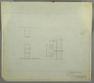 Design for drawer knob with extruded handle. At lower right, side elevation with dimensions shows knob with meander-like, outward-angled bracket shape affixed to drawer or door front by screw. At upper left, plan describes rectangular footprint while below, front elevation gives sense of relative depth of extruded handle's various planes. Margins ruled in graphite. Inscribed with Deskey No. 7865.