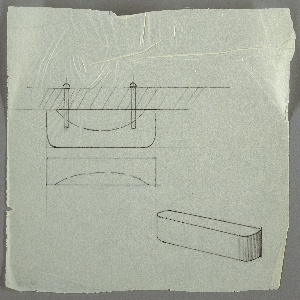 Design for drawer pull. At lower right, rough perspective sketch shows rectangular volume with curved front corners; vertical striations potentially indicate wood as intended material. At upper left, plan view describes semi-ovoid indentation close to drawer front, to serve as finger pull, as well as how object would be mounted to drawer by screw. Below, rough front elevation provides additional view of pull with curved finger pull incision.