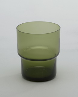 Transparent olive green glass stepped cylindrical tumbler.