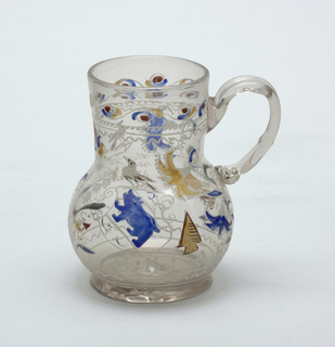 Clear glass pitcher with painted decoration