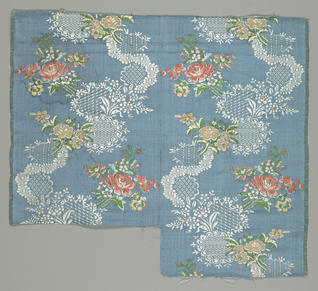 Serpentine lace ribbons with floral sprigs on blue ground.