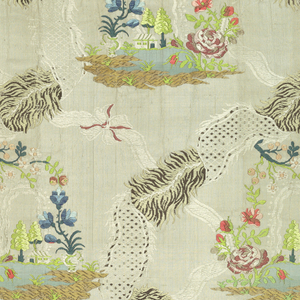 Repeating pattern of a small landscape scene with a house and trees is surrounded by a garland flowers. These are surrounded by undulating bands of fur and feather crossed with ribbons.