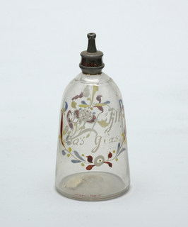 Bell shaped clear glass bottle with silver cap and painted decoration