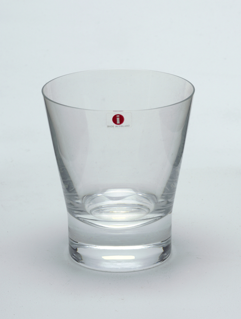 "Stemless large tumbler. Manufacturer's sticker, red with ""i"" Made in Finland"