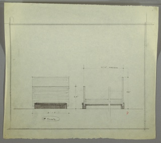 Design for bed seen in front and partial side elevations. At left, front elevation shows bed with planar head- and footboard, the former taller than the latter. These are supported by horizontal rectangular base. At right, broken side elevation shows that symmetrical base has divots at front and rear to hold head- and footboard. Margins ruled in graphite. Inscribed with Deskey No. 7062.