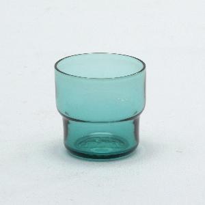 Transparent aqua glass stepped cylindrical tumbler.