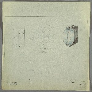 Design for ring-shaped drawer knob. At upper right, perspective shows ring-shaped pull set into rectangular mount, both vertically oriented; half of ring extends beyond mount. At upper left and upper center are front and side elevations with dimensions; below, a plan view. Margins ruled in graphite. Inscribed with Deskey No. 6229.