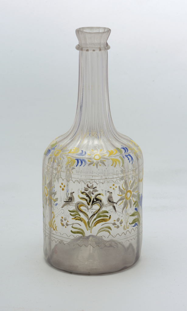 Clear glass with painted white & yellow flowers decoration.  Bottle has a long neck and short cylindrical body, long semicurcular ridges extend the length of bottle
