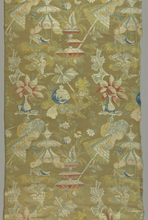 White satin in a chinoiserie-style design with flowers, parasols, tables, vases, etc. in pink, blue, green and yellow.