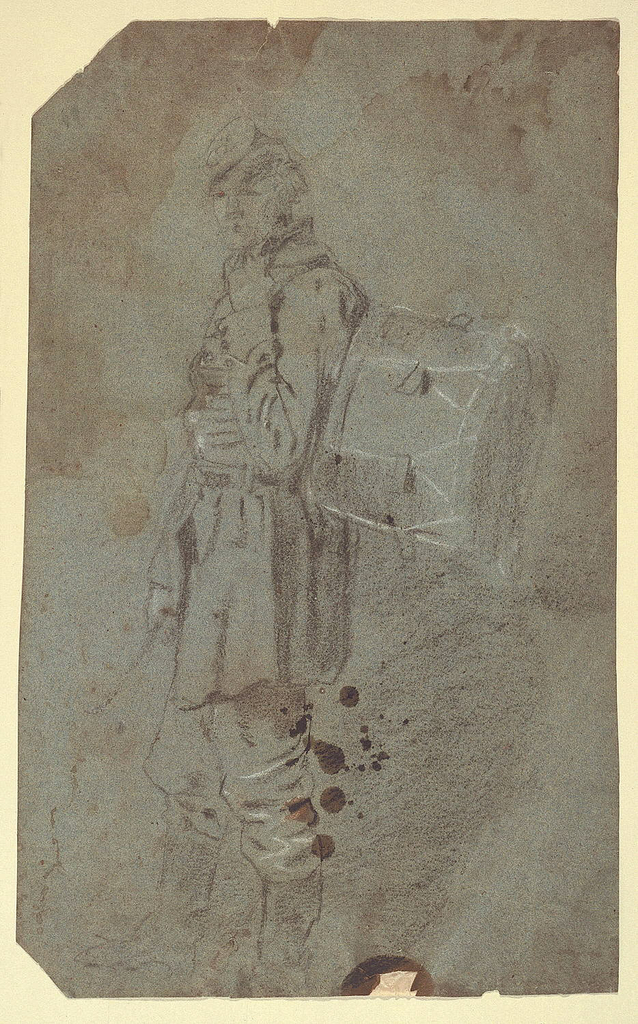 Full-length vertical view of a standing drummer, drawn from the side with his head turned to face the viewer and with his drum strapped to his back.