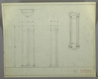 Design for a standing light. At right, a perspectival drawing shows hemispherical base whose flat edge would abut wall. From this base extend six rectilinear vertical elements: one pair at front center and one pair on each left and right sides, all springing from rectangular mounts on the base. These terminate at midpoint of top soffit whose shape echoes that of the base, but whose volume is thicker with a lip that slightly widens at top. Margins double-ruled in graphite. Inscribed with Deskey No. 6110.