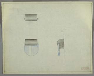 Design for drawer pull. At lower left, front elevation shows semi-oblong-shaped finger grip, possibly in glass, crystal, or Bakelite, set below curved mount in different material. At upper left, plan view shows top edge of mount is curved, while below, at right, side elevation indicates that mount is quarter-oblong with indent where finger pull is inset. Margins ruled in graphite.