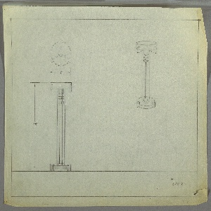 Design for standing ash tray. At upper right, perspective shows object with disk base elevated slightly by three cylindrical feet. At center of base, a smaller disk from which rise three planar supports that angle outward then upward, terminating in curved edges, to hold circular ash tray. Top of supports connected by two streamline disks and one deeper disk in different material. At upper left, plan view; at lower left, front elevation.  Margins ruled in graphite. Inscribed with Deskey No. 6109.