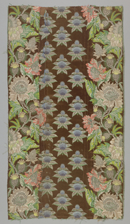 Large metallic flowers at each edge with blue floral shapes on brown in center.