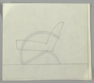 Design for a tubular steel lounge chair with upholstered floating cushion. Frame in continuous steel with curving arm and S-shape lower leg and cushion support.