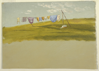 Hillside on a sunny day with blue sky and clouds. Laundry is hung to dry, on a clothesline supported by wooden poles. High bottom margin showing brownish grounding color.