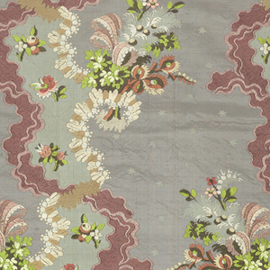 Panel of gray taffeta brocaded in polychrome silks in a pattern of ribbon meander in dark red with floral clusters.