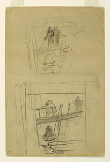 Recto: Vertical sketch of a portion of a ship showing an open deck with two seamen standing at a rail and a companionway leading to a lower deck.  Two sketches of a ship's bell, and rope with block and tackle are also visible.  Verso: Two heads.
