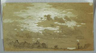 Drawing, Cloudy Sky over a Wooded Ridge, Niagara