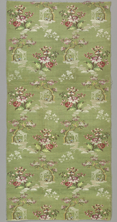 Light green ribbed silk brocaded with multicolored silk patterned with floral sprays and figures seated under a tree.