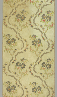 Two parallel curving branches with clusters of flowers on an ivory background. The pattern is achieved by horizontally turning every other minimum unit and placing all units one on top of the other.