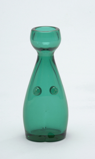 Teal green glass.  Figural form, no arms, defined breast additions