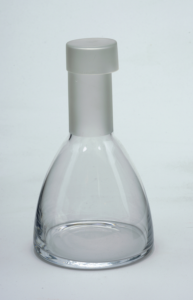 Clear glass decanter with long frosted glass neck and stopper