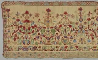 Skirt border of natural-colored linen, embroidered in blue, green, yellow, red, cream and white silks.  Design of stylized flowers in pots, mermaids, and birds. Needle lace edge.