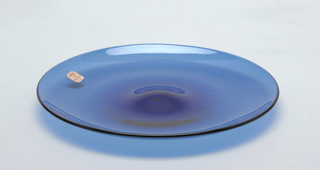 Thin, blue, mouth-blown crystal platter.