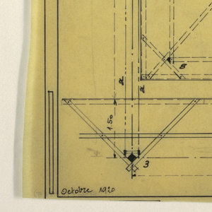 Design for a mass-operational house by Guimard. This design shows construction instructions and scale.