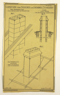 Design for a mass-operational house by Guimard, detailing the roof supports for the chimney.