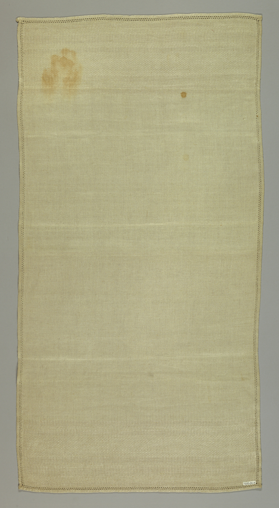 Light gray runner with Italian hemstitching on four sides.
