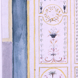Design for a pair of doors painted in the Pompeiian style. Each has a large central panel with arabesques, and square panels above and below.