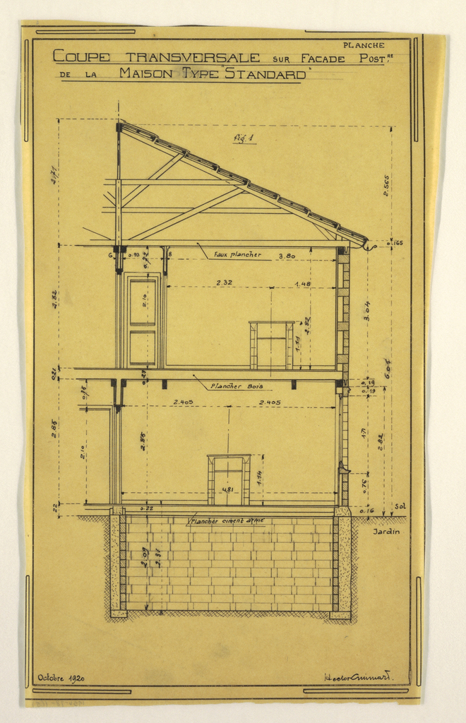 Design for a mass-operational house by Guimard. This design shows a transveral cross section of the house.