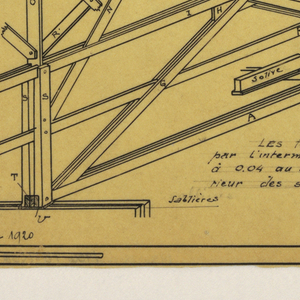 Design for a mass-operational house by Guimard, detailing the framing construction.