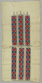 Panel made of two pieces of hand-loomed heavy cotton embroidered with blue, red, and white cotton using cross stitch. An occasional sequin or glass bead included in embroidery. Three vertical rows of a geometric design.