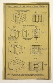 """Drawing, Plate Illustrating Standard Rubble Concrete Blocks (""""Moellons Standard en Agglomérés"""")"""