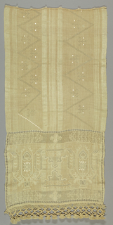 Cream-colored panel embroidered with cream raw silk and silk floss, with drawn work. One end, almost half the towel, has two stylized vines containing tulip with 8-lobed rosette on stem and two large cone-like leaves, flanking symmetrical curving ornament, the whole surrounded by drawn work borders and terminating in elaborately knotted fringe. The upper half of the towel is plain except for two large parallel zigzags.