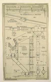 Design for a mass-operational house by Guimard, detailing the construction of the drainspout and gutters.