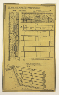 Design for a mass-operational house by Guimard, detailing the walls in the storage space.
