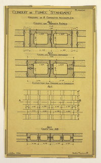 Drawing, Design for a Mass-Operational House Designed by Hector Guimard, Chimney Duct Construction