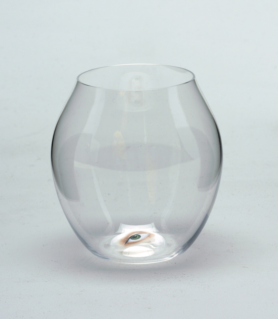 Mouth-blown balloon crystal tumbler with painted eye on base.